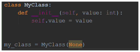 Use of None for a parameter of another type is highlighted as an error