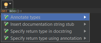 Insert collected types in PyCharm