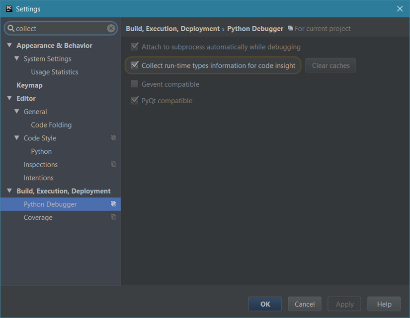 Collect type information during debugging in PyCharm