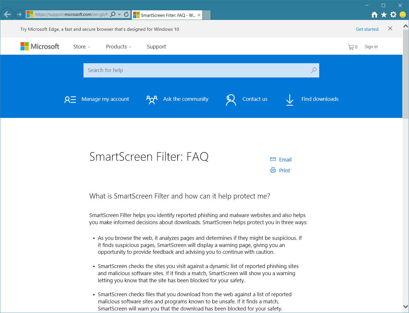 SmartScreen Filter FAQ