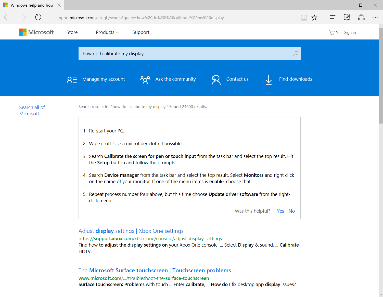 A search for 'How do I calibrate my display?' on the Windows 10 support home page
